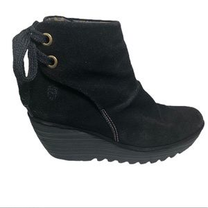 FLY LONDON Yama Booties Suede Shoes Wedge Black 8